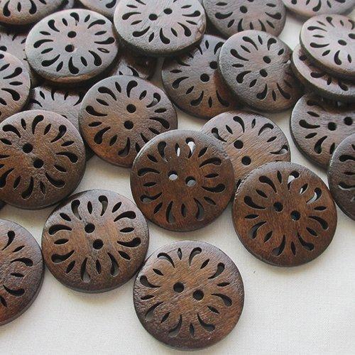 chenkou Craft perforado flor madera manualidades de costura botones 30mm 50pcs
