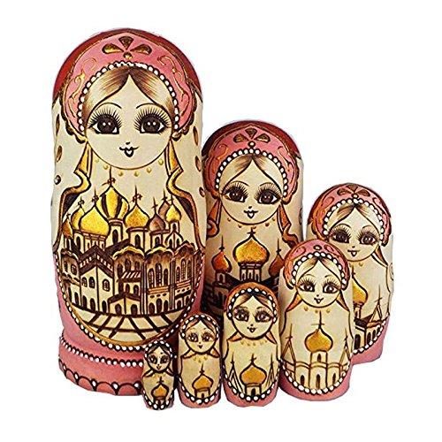 Hrph Neue 7pcs / Set hölzerne russische Verschachtelungs-Puppen getrocknetes Basswood-traditionelle authentische handgemachte Matryoshka Puppe scherzt Geschenk - Jahr Für Fünf Alt Puppen