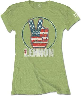 John Lennon Peace Fingers Us Flag T-Shirt Femme