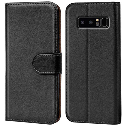 Verco Galaxy Note 8 Hülle, Handyhülle für Samsung Galaxy Note 8 Tasche PU Leder Flip Case Brieftasche - Schwarz