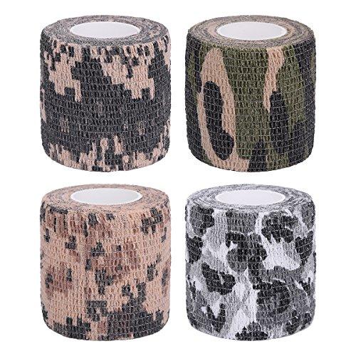 4Stück selbstklebend Schutz 5cmx4.5m Camouflage Tape Wrap Tactical Camo Form Multifunktional Vlies Stoff Stealth Tape Stretch Bandage für Outdoor Militär Jagd, Herren, Stil 3 (Desert Stoff Camo)