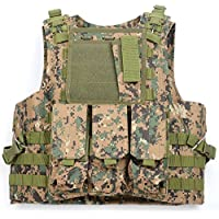 Generic tattico Airsoft assalto combattimento Vest, con 3tasche, Woodland Camo, 112cm x 45cm - Camo Tactical Paintball