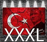 Premium Kunstdruck Leinwandbild - Türkei Atatürk Flagge auf Leinwand - aufgespannt auf 2cm Keilrahmen, aus Deutscher Herstellung, 160x105cm, Größe XXXL