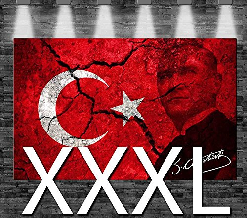Premium Kunstdruck Leinwandbild - Türkei Atatürk Flagge auf Leinwand - aufgespannt auf 2cm...