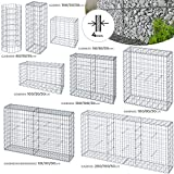 Gabbione da Giardino - Disponibili in Diverse Misure, Filo di Ferro Ø 4mm, Maglia 10/5cm - Gabbia, Sassi, Muro di Pietra, Metallici