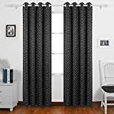 Deconovo Super Soft Circle Printed Eyelet Curtains Thermal Insulated Blackout Curtains for Livingroom with Two Tiebacks 46 x 54 Inch Pair Black