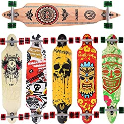 Longboard Skateboard MARONAD drop through Race Cruiser ABEC-11 Skateboard 104x24 cm Streetsurfer patinar FUN, Modell Cruiser - Indian