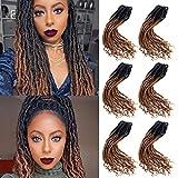 """6 Pièces Ombre Brun Faux Locs Crochet Cheveux Bouclés Extrémités Synthétiques Tressage Déesse Cheveux Extensions (18 """", 1B / 27)"""
