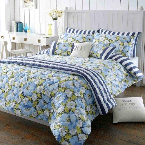 Matilda kobalt Blumenmuster & blaue Streifen breites Doppelbett Bettwäsche Bettbezug von Kirstie Allsopp - Kobalt-blauer Streifen