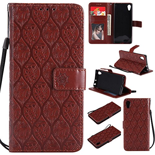 BestCatgift Xperia XA1 Wallet Hülle, [Rattan Flower] Xperia Z6 PU Leather Cover Wallet Phone Hülle für Sony Xperia Z6 / Xperia XA1 - Brown