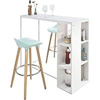 SoBuy® FWT39-W Table Haute de Bar Table de Bar Mange-Debout Cuisine avec 3 Étagères de Rangements – Blanc