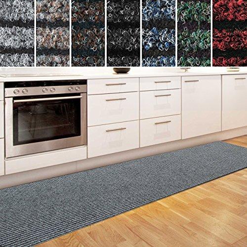 casa pura Küchenläufer Granada in großer Auswahl | strapazierfähiger Teppich Läufer für Küche Flur UVM. | Rutschfester Teppichläufer/Flurläufer für alle Böden (80x350 cm Grau)