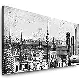 Julia-Art Leinwandbilder - 100 mal 40 cm Bild München Skyline, Stadt Wandbilder sind fertig gerahmt - verschiedene Motive - Kunstdrucke XXL Panorama Mn-01-7