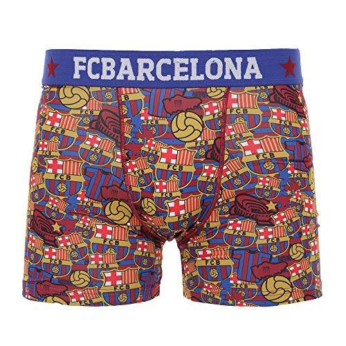 Boxershorts FC Barcelona, offizielles Lizenzprodukt, Blau - Granat L Bleu - Grenat - Unterwäsche Barcelona
