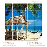 Graz Design 765066_15x15_60 Fliesenaufkleber Fliesenbild Häuschen und Hängematte unter Palmen am Strand (Fliesenmaß: 15x15cm (BxH)//Bild: 60x60cm (BxH))