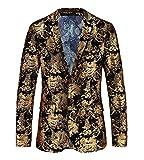 MOGU Herren Printed Casual Blazer Jacke DE 44(Asien XL) Gold