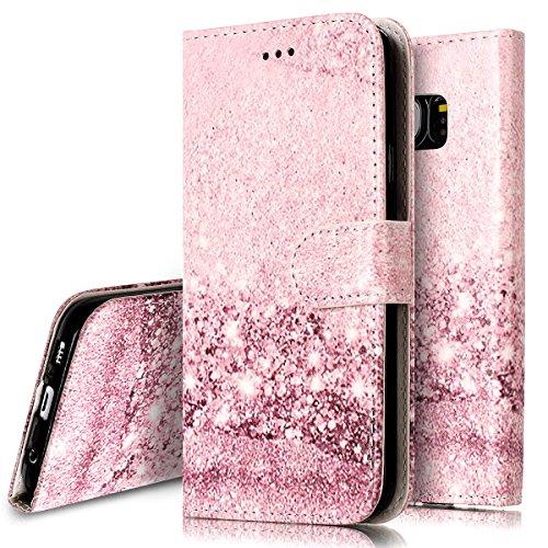 Ukayfe custodia cover per samsung galaxy s7 edge samsung g935, protettiva flip portafoglio copertura custodia con super sottile tpu interno case e porta carte di credito in pu pelle-oro rosa