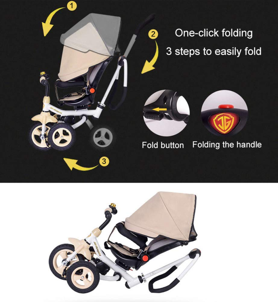 4 In 1 Childrens Folding Tricycle 12 Months To 6 Years 360° Swivelling Saddle Children's Pedal Tricycle Folding Sun Canopy 3-Point Safety Belt Kids' Trikes Maximum Weight 25 Kg,Brown  ★Material: High carbon steel frame, suitable for children from 12 months to 6 years old, the maximum weight is 25 kg ★ 4 in 1 multi-function: can be converted into a stroller and a tricycle. Remove the hand putter and awning, and the guardrail as a tricycle. ★Safety design: Golden triangle structure, safe and stable; front wheel clutch, will not hit the baby's foot; 3 point seat belt + guardrail; rear wheel double brake 3