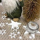 Oblique Unique® 18 Holz Sterne Holzdeko Weihnachtsdeko Tischdeko Weihnachten Echtholz - Farbe wählbar (Weiss) - 7