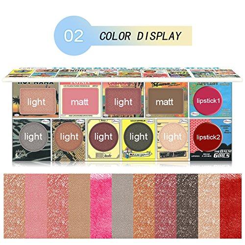Purplerain 12 Farben Professionellen Wet Lidschatten mit Lippenstift-Palette Matte...