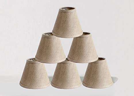 Onepre clip on chandelier lamp shades hardback candle linen onepre clip on chandelier lamp shades hardback candle linen lampshade 6 inch set mozeypictures Image collections