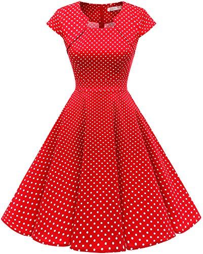 Homrain Robe Femme Vintage de Soirée Cocktail Cérémonie années 1950s Style Audrey Hepburn Red White Small Dot L