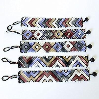 Bracelet plat (petit) en perles Sud Africain Zoulou - Violet/blanc/gris foncé