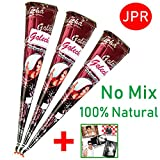 JPR - 3 pcs. 100% Natural Mehndi Cones, No Mix, Halal Veg, Clinically Tested & Certified - For Temporary Bodyart Tattoo Design (Big Cone) 75g + SRK Postcard