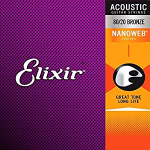 Elixir Strings 80/20 Bronze Acoustic Guitar Strings w POLYWEB Coating, Extra Light (.010-.047)
