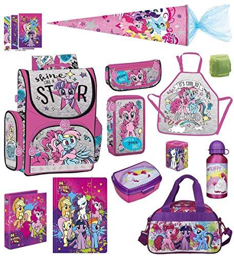 Familando My Little Pony Schulranzen-Set 13 TLG. mit Schultüte 70cm, Sporttasche, Regenschutz und Federmappe Einhorn Regenbogen (Pony Pony Regenbogen Little My)