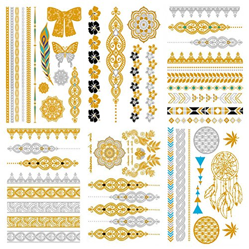 COKOHAPPY Premium Metallic Tattoo - 60+ Mandala Designs in and Silber - Temporäre Fake Gefälscht Shimmer Shimmer Schmuck Tattoo - Flowers Feathers Bracelets Traumfänger Handgelenk and