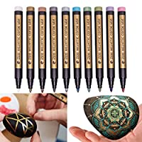 Metallic Permanent Paint Markers Pens - Fine Point Tip Markers for Rock Painting, Mug Design, Ceramic, Glass, Metal, Wood, Fabric, Canvas, Christmas Gift DIY Craft Kids, Set of 10 Colors