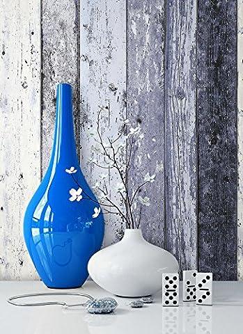 Holz Mustertapete Vliestapete Blau Edel , schöne edle Tapete im Holzwand Design , moderne 3D Optik für Wohnzimmer, Schlafzimmer oder Küche inkl. Newroom Tapezier Ratgeber mit super Tipps!