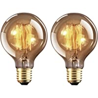 Vintage Edison Light Bulbs Retro Old Fashioned Style Screw Bulb Dimmable Decorative Spiral Filament Lamp E27 G80 220-240V 40W Warm White Lights 2 Pack