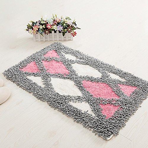 Anti-skid blau plus pulver checkered matten, hause treppenbad saugfähigen pad teppich 45 * 70 cm ( Color : Pink ) (Pulver-blau-teppich)