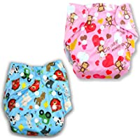 CuidAdo Adjustable Printed Cotton Pocket Diapers & Reusable Baby Washable Cloth Diaper Nappies for Babies, Infants…