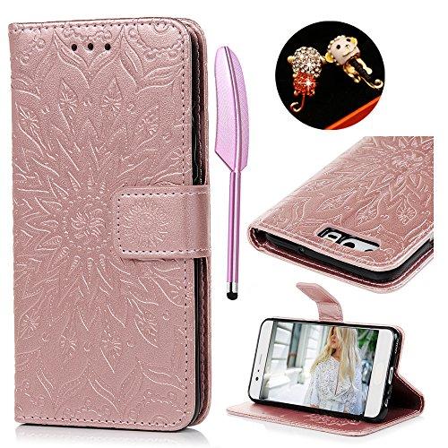 Huawei P10 Flip Cover, Custodia Libro Pelle PU e TPU Silicone con Funzione Supporto Chiusura Magnetica Portafoglio Libretto Bumper Case per Huawei P10, Girasole Oro Rosa