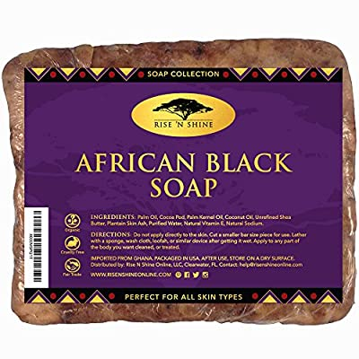 (453g) Raw African Black Soap with Coconut Oil and Shea Butter - Body Wash, Shampoo and Face Wash - Helps Clear Dry Skin, Acne, Eczema, Psoriasis - Authentic Organic Homemade Soap Bar from Ghana from Rise 'N Shine Online