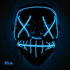Leoie Scary Halloween Mask LED Light Up Mask for Festival Cosplay Halloween Costume