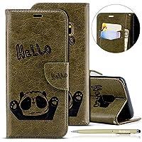 Herbests Handytasche für Samsung Galaxy S9 Lederhülle Niedlich 3D Panda Muster Flip Case Cover Hülle Leder Klapphülle Leder Tasche im Bookstyle Handyhülle Brieftasche Schutzhülle,Grün