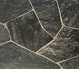 PVC Vinyl-Bodenbelag in Bruchstein dunkel Optik | CV PVC-Belag verfügbar in der Breite 300 cm & Länge 500 cm | CV-Boden wird in benötigter Größe als Meterware geliefert & pflegeleicht | Made in Germany