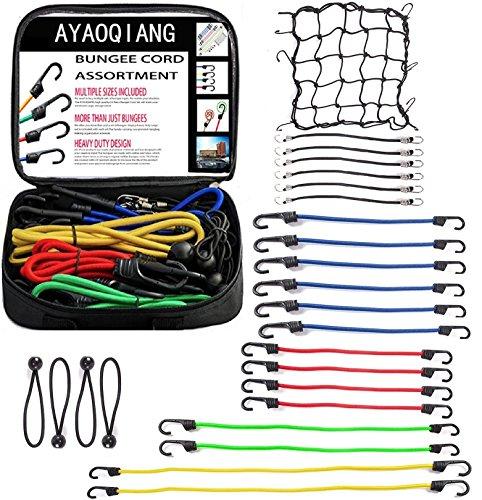 Preisvergleich Produktbild AYAOQIANG Premium Gepäckspanner Spannseile in Verschiedene Größen für Fahrrad, Motorrad & Auto 24 Stück Universal Expander-Set Gepäcknetz und Planenspanner mit Haken