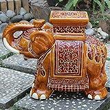 Brown : International Caravan VHO16A-C-LG-FB-IC Furniture Piece Large Porcelain Elephant Stool