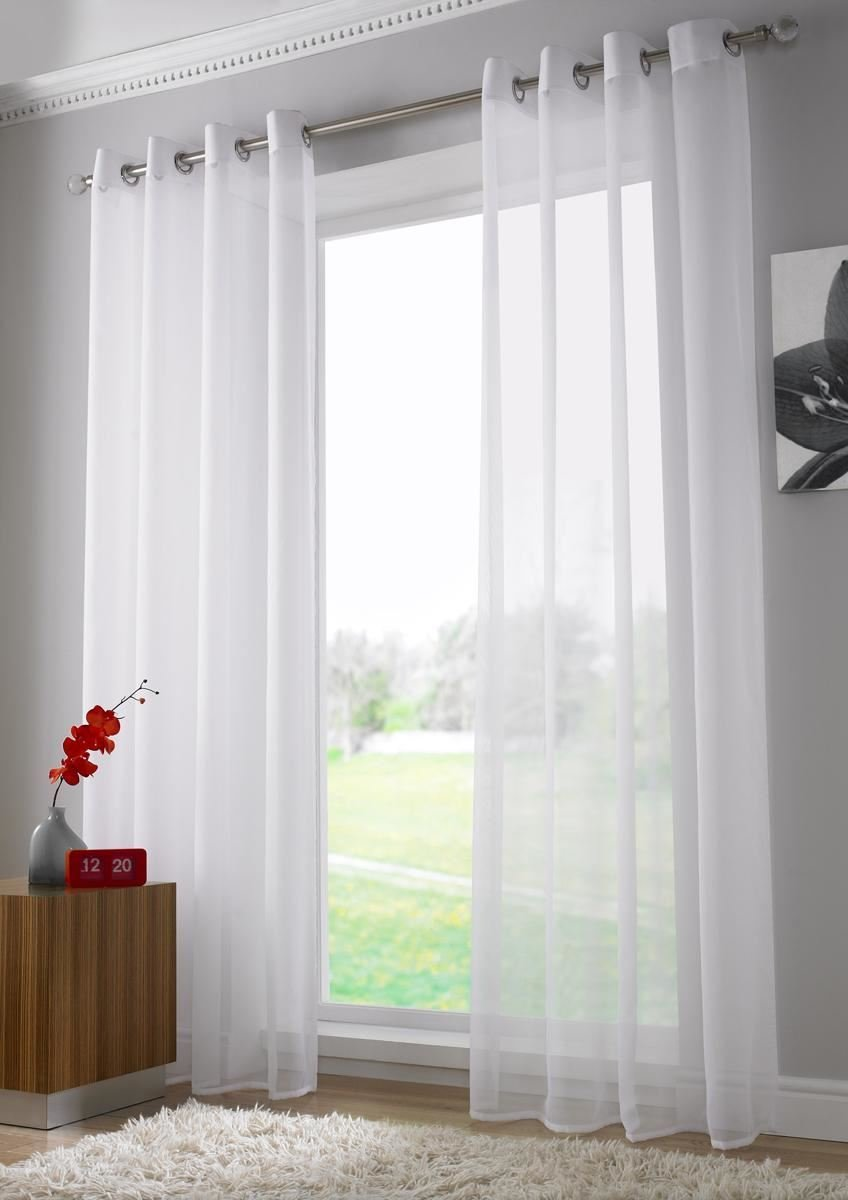 Voile curtain panel brown cheap green curtain voile uk delivery - Plain Voile Curtain Panel Ring Top Heading Eyelet Voile Curtains Ready Made Sheer Voile Panels 59 X 108 White Amazon Co Uk Kitchen Home