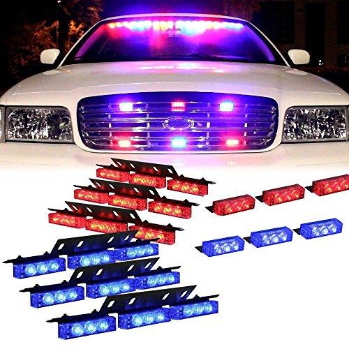 Led Blitzer, HEHEMM Auto Styling Licht 72 Led Super Hell Warnlicht am Armaturenbrett Auto Blinklicht Notleuchte LKW-Polizei Führte Lichter 12V (Rot und Blau) -