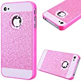 GrandEver Hard PC Case for Apple iPhone 4S iPhone 4 Rigid Glitter Back Cover Solid Color Bling Shiny Sparkle Design High Quality Plastic Shell Shockproof Tough Case Cover Flexible Cell Phone Hull for Apple iPhone 4S/iPhone 4 --- Pink