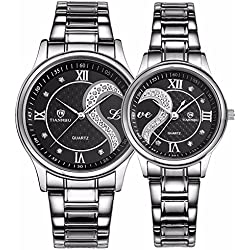tiannbu fq-102Edelstahl Romantische Paar HIS und HERS Handgelenk Uhren Herren Frauen Schwarz Set von 2