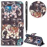 Huawei Nova 3i Hülle,WIWJ Premium Tasche Cover Handyhülle[3D lackierte Halterung Ledertasche]Brieftasche Flip Case Lederhülle Schutzhülle Handyhüllen für Huawei Nova 3i/P Smart Plus-Zwei Elefanten
