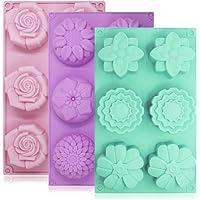 Lot de 3 moules à gâteaux Senhai en silicone - 6 fleurs par moule - Pour fabrication de glaçons, chocolats et…