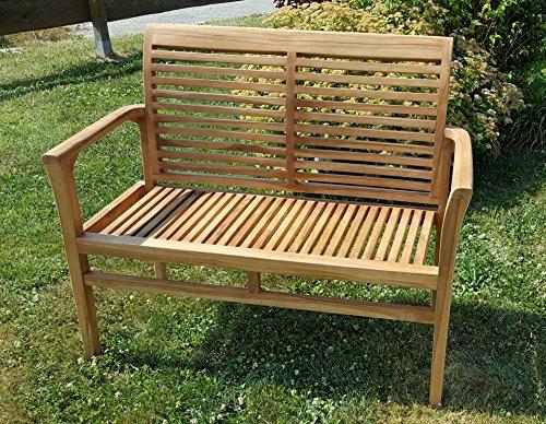 TEAK Design Gartenbank Parkbank Sitzbank 2-Sitzer Bank Gartenmöbel Holz sehr robust Modell: ALPEN120 von AS-S